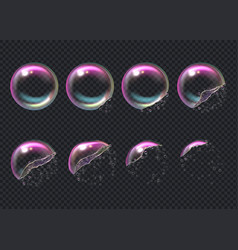 Burst bubbles key frames transparent deformed vector