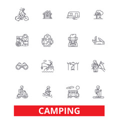 Camping family travel activity hiking camper vector