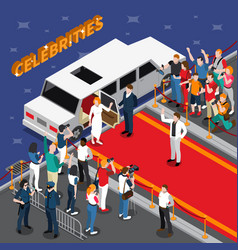Celebrities on red carpet isometric composition vector