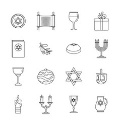 Chanukah jewish holiday icons set outline style vector