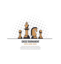 chess tournament banner template outline vector image