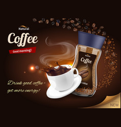 coffee advertisement realistic composition vector image