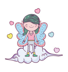 Cute little fairy with clouds and hearts vector