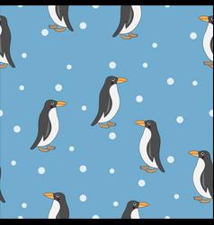 cute penguin seamless pattern vector image