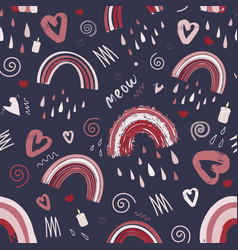 Cute rainbow pattern pattern for valentines day vector