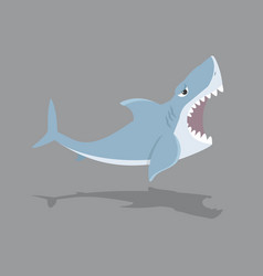 Cute shark open mouth vector