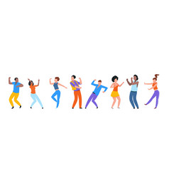 Dancing people happy trendy men and women dancers vector