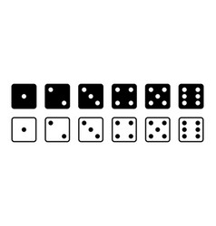 dice game icon with side cube from one vector image