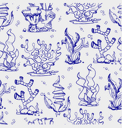 doodle seaweeds and coralls seamless pattern vector image