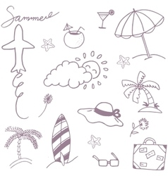 Doodle set recreation in beach vector image