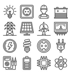 electricity and energy icons set on white vector image