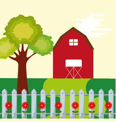 farm barn leafy tree and fence flowers garden vector image