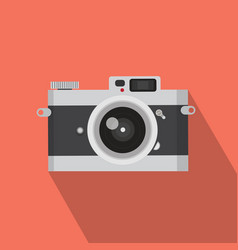 flat design vintage camera with long shadow vector image