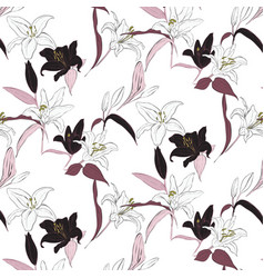 Floral lily pattern spring hand drawn vector