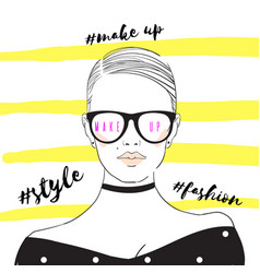 glamour fashion beauty woman face in vector image