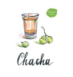 Glass of georgian vodka chacha with grape vector