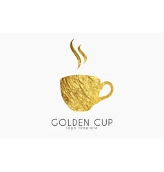 Golden tea cup golden cup coffee cup logo vector