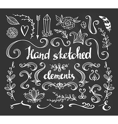 Hand Drawn vintage floral elements Set of flowers vector