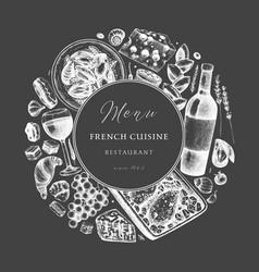 Hand sketched french cuisine vintage design on vector
