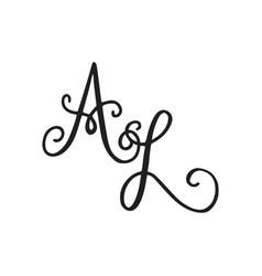 Handwritten monogram al icon vector