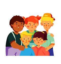 happy preschool children - colorful flat design vector image