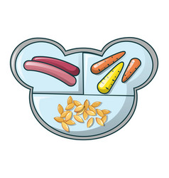 Healthy food on tray icon cartoon style vector