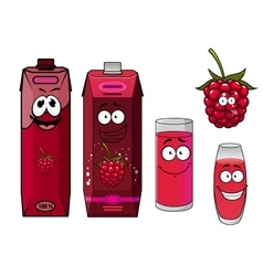 Healthy fresh raspberry juice cartoon characters vector image