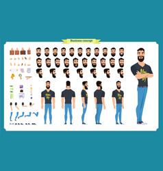 hipster creation kit set of flat male cartoon vector image