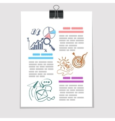 infographics elements sketch on old sheet paper vector image