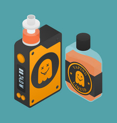 Isometric icon of vape device with ghost vector