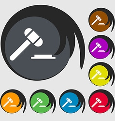 judge hammer icon Symbols on eight colored buttons vector image