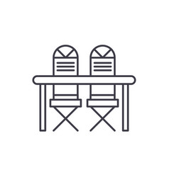 kitchen table and chairs line icon concept vector image