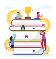 Knowledge in book stack vector