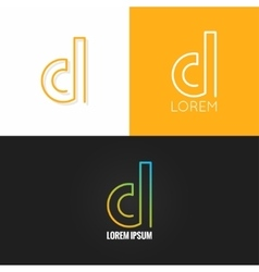 Letter D logo alphabet design icon set background vector