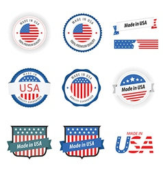 Made in USA labels badges and stickers vector