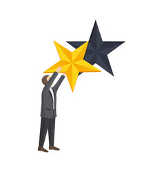 man given golden star to improve rating level vector image