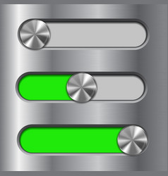 metal interface slider green bar with round vector image