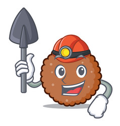 Miner chocolate biscuit mascot cartoon vector