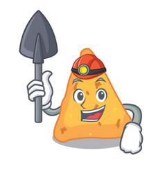 Miner nachos mascot cartoon style vector