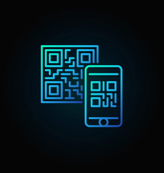 Mobile phone scanning qr code blue linear vector