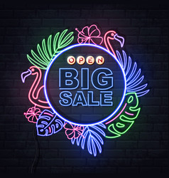 neon sign big sale with fluorescent tropic leaves vector image