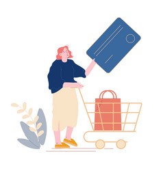 noncontact payment concept female customer vector image