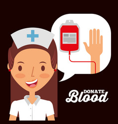 nurse speech bubble with iv bag donate blood vector image