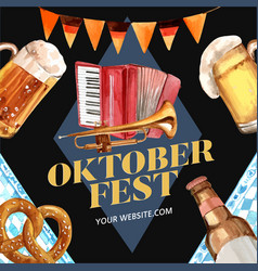 Oktoberfest frame with feast accordion trumpet vector