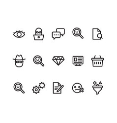 Outline icon symbols set contains icon eye chat vector