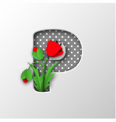 paper cut letter p with poppy flowers vector image