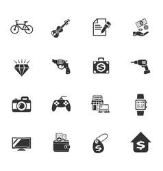 Pawn shop icon set vector
