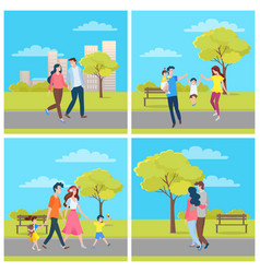 people walking in city park family outdoor vector image
