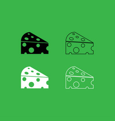 Piece cheese icon black and white color set vector