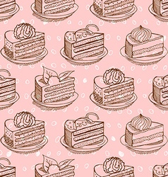 Piece of cake on plate seamless pattern drawing vector